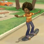 African American, black boy, skateboard, and city park