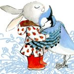 rabbit, bird, hugging, and emotions
