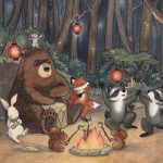 forest, Animals, bear, fox, raccoon, rabbit, and camping