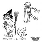 Halloween, little witch, and mummy