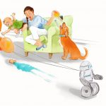 robots, birthday, baby and mother, birthday cake, and A boy and his dog