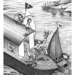 battle, pirates, boats, the Jolly Roger, swallows, Amazon, and Classic book