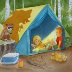 camping, Fear of monsters, children in nature, raccoon, and child reading