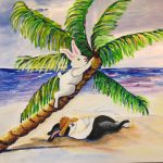 rabbit, Palm Trees, and beach