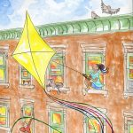 Kite Flying, Childhood Imagination, brownstone, and city