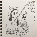 little witch, Halloween, and apple
