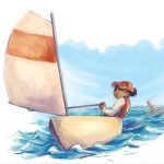 Sail Boat, sail, adventuresome girl, Girl power, and  watercolors