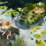 Swamp, boy fishing, fishing pole, brother and sister, pond, chimeras and monsters, cute monsters, Fictional Monsters, Fear of monsters, Friendly Monsters, lily, russian, Russian Fairy Tale, russian folktale, Russian folk tale, and russian fairytales