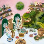 Children's Tea Party, tea party, tea time, chimeras and monsters, cute monsters, Friendly Monsters, Fictional Monsters, Russian Fairy Tale, Russian folk tale, russian folktale, teacups, teapot, underwater, and underwater world