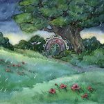 A Rainy Story, storm clouds, At Night, flowers, and Environment/Nature