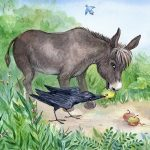 animal adventure, donkey, raven, badger, apples, forest friends, and summer day