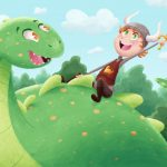 dinosaur,  Illustration, whimsical, whimsy, children's book illustration, cute, fun, forest, boy, boy adventure, nature, outside, Children Outside, playing outside, Nature, colorful, colorful background, Green, Silly Stories, silly, sillyness, and silliness