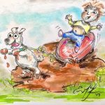 muddy, SCBWI Draw This!, buddies, besties, Children playing, and playing outside