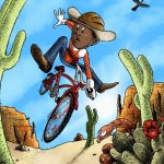 bicycle, cowboy, and desert