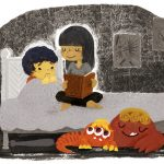 monster under the bed, cute monsters, night time, Bedtime reading, and children fears