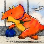 dinosaur, triceratops, Air Travel, conference, and children's picture book