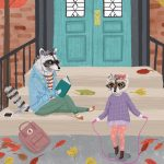 raccoon, whimsical cityscape, brownstone, Cute Animals, autumn scene, and autumn leaves