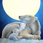 polar bears, cuddle, hug, moonlight, and baby animals