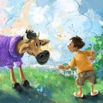 cow, a picture book, and children and animals