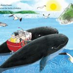 humpback whale, Boat, birds, puffins, puffin, and going home