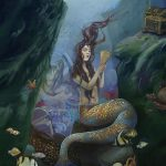 Children's fantasy, mermaid, young adult, oil painting, and deep ocean creatures