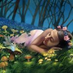 fairies, common fairytale, Folklore and Legends, girl sleeping, Magic, oil painting, mushrooms, and Fantasy Illustration