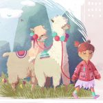 art for girls, llamas, and A little girl whose imagination comes to life