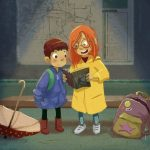 cute kids, A Rainy Story, and bus stop