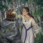 Arthurian fantasy, Arthurian Legend, Pandora, Greek mythology, maiden,   princess, oil painting, and Folklore
