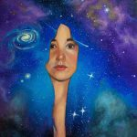 science space travel, surreal, portraiture, traditional art, Children's fantasy, and Contemporary Fantasy