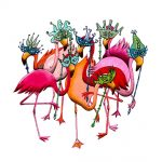 flamingoes, flamingos, Masks, carnival, and dressing up