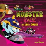 picture book cover, cute monsters, racing, alphabet book, and Halloween picture book