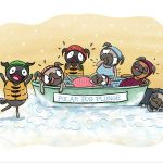 Pug, Pugs, Dogs, Dancing dogs, anthropomoric, funny dog, and Winter