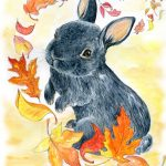 Bunny, fall, rabbit, and autumn leaves