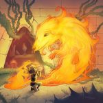 Fire, Fantasy, Magic, flute, African American boy, and fantasy creatures