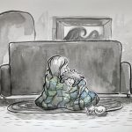 grief, mother and daughter, ocean, sad, and Animals: cats