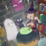 ghost, Animals: cats, little witch, and spell