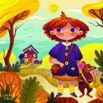 Autum, autumn scene, outgoing girl character, field mouse, animal character, and Action & Adventure