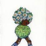 daisies, flowers, character design, walking, and Foliage