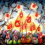 solstice, Woodland Animals, lanterns,   forest, Christmas, and festival