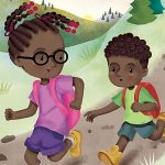 cute kids, Hiking, Contemporary family, African American child, outdoors, curious kids, backpacking, running, and racing