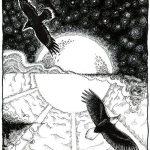 birds, night and day, and  pen and ink