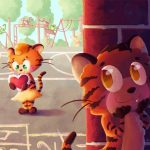 animals, animal, cute, Cute Animals, Tiger, adorable, adorable animal, young love, children's book, children's illustration,  Illustration, Children Playground, playground, boy at school, sweet, and visual storytelling