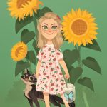 sunflowers, kidlit, Animals: cats, butterfly, and Garden