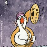 Mother Goose, tuba, Tuba Players, night sky, and making music., and playing instrument