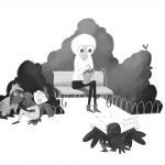 black and white, black and white illustration, Old Lady, birdwatching, pranks, and pulling pranks