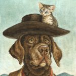 cowboy, kitten, and dogs