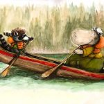 Unlikely Friendships, summer activities, summer camp, raccoon, hippo, canoe with animals, summertime f un, #Friendship, and funny animal characters