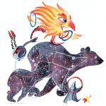 Sun and Moon, constellations, Bears, baby bear, acrobats, and carnival