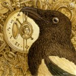 magpie, birds, and gold
